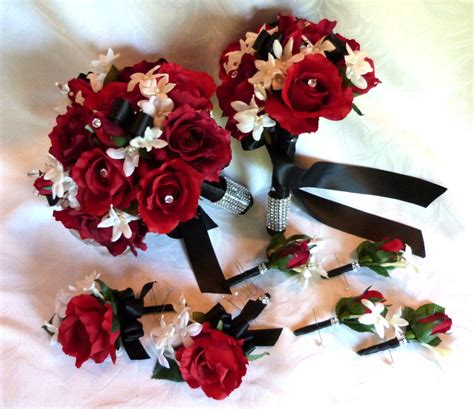 Red Rose Bouquet Red White Black Wedding Bouquet And