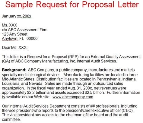 business proposal letter sample request  proposal letter
