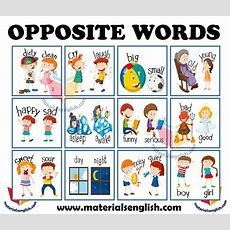 Antonyms  Opposites  Materials For Learning English
