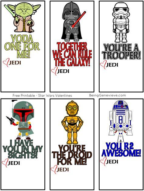 Free Printable Star Wars Valentines Being Genevieve