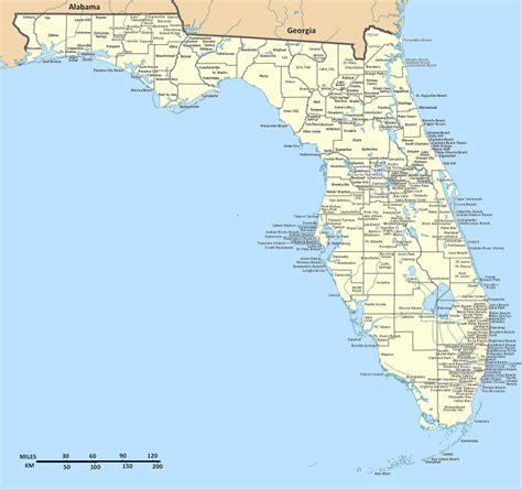 detailed florida state map  cities florida state