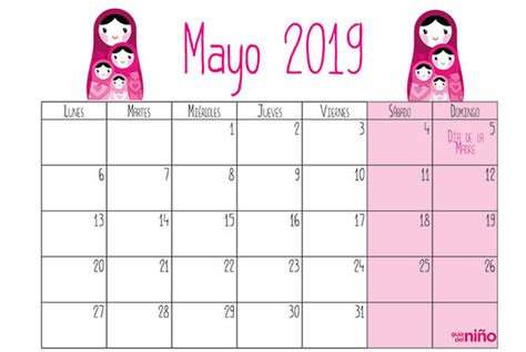 Calendario Mes Mayo 2019 Para Imprimir