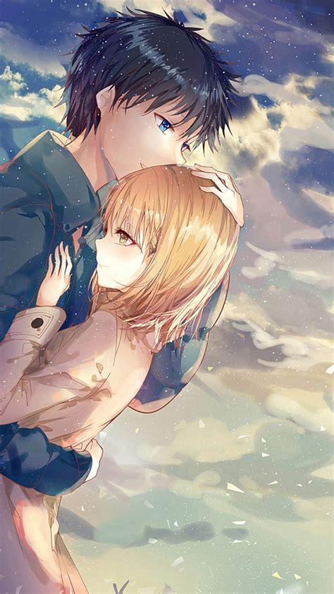 Anime Couple Hd Wallpaper Download Download 1080x1920 Anime Couple Hug Romance Clouds