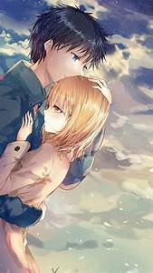 Download 1080x1920 Anime Couple, Hug, Romance, Clouds ...
