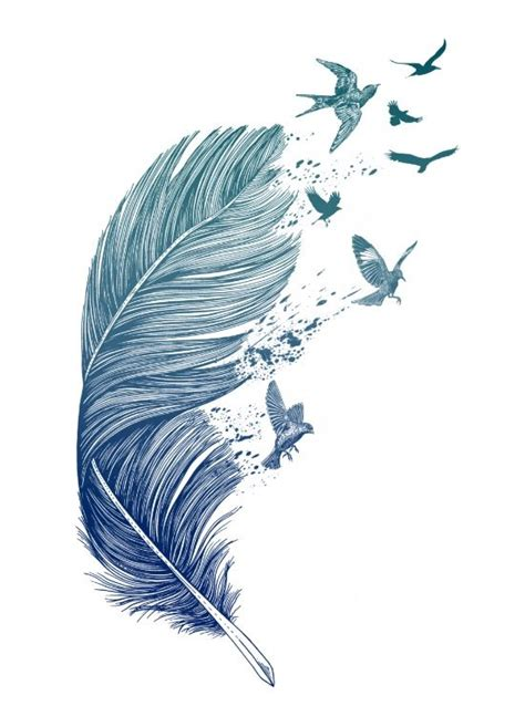 plume d oiseau dessin id 233 e tatouage oiseaux qui sortent d une plume tatouage