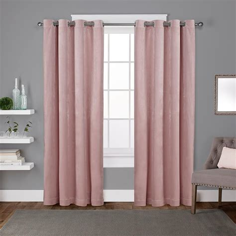Pink Curtains by Velvet Blush Pink Heavyweight Grommet Top Window Curtain
