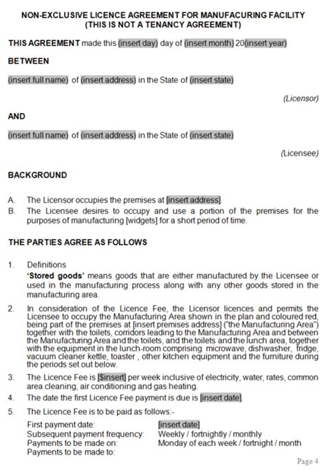 manufacturing area licence lease agreement