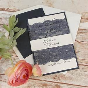 vintage navy blue lace rustic wedding day invitation With navy lace wedding invitations uk