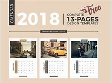 Free Complete 2018 Calendar Design Templates 13 Pages by