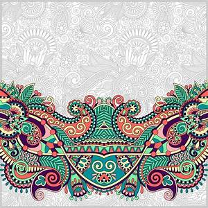 Paisley design on decorative floral background for