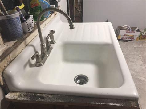 Vintage Standard Single Basin Porcelain Cast Sink Drainboard