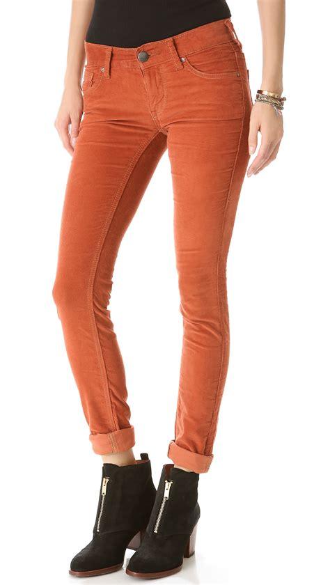 lyst  people skinny corduroy pants  orange