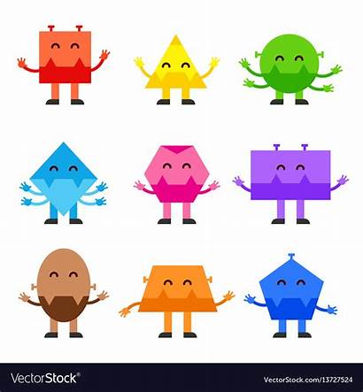 Shapes Geometric Cartoon Funny Character Monsters Vector