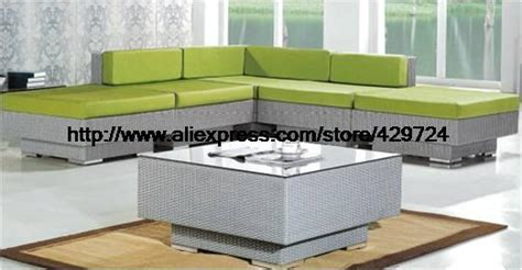 garden furniture modern l shaped green rattan sofa table