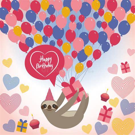 Threetoed Sloth On White Background Happy Birthdaycard