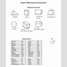 8th Grade Math Formula Sheet  Math 7 Sol Formula Sheet Snippet  Educational Concepts Math