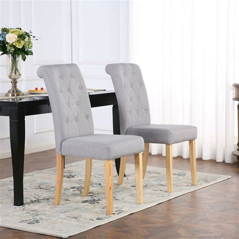 premium linen fabric dining living room chairs scroll high