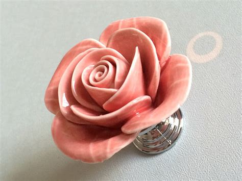 pink flower cabinet door knobs dresser knobs drawer knob
