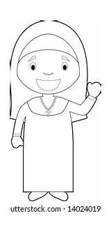 Coloring Nun Cartoon Nuns Shutterstock Vectors sketch template