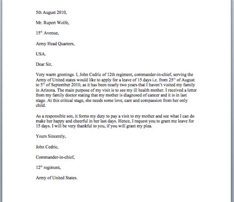 leave application letter sle smart letters