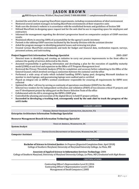 sle resume for information technology specialist