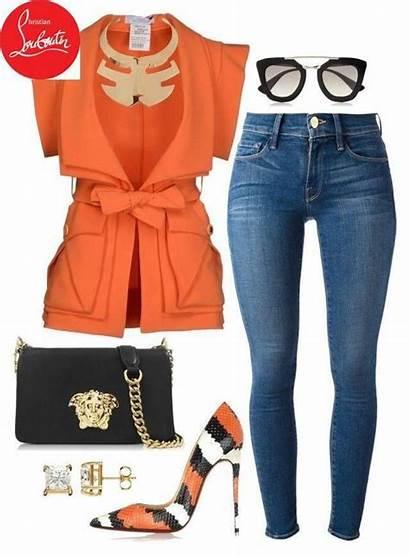 Polyvore Outfits Orange Louboutin Fashionkill21 Christian Featuring