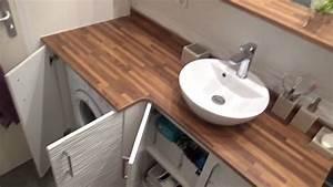 salle de bains avec un meuble integrant le lave linge With lavabo salle de bain encastrable