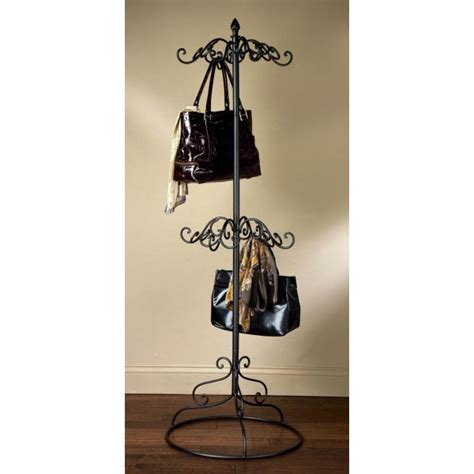 stanley furniture america 2 tier black metal purse scarf display tree rack by tripar