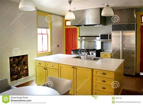 yellow kitchen design kitchen yellow wood cabinets stainless stove stock image 1216