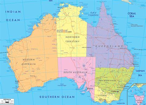 political map  australia ezilon maps