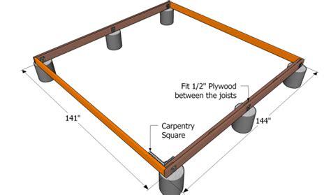 12x12 Free Standing Deck Plans by Ground Level Deck Plans Myoutdoorplans Free