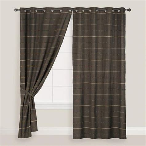 gray striped chambray grommet top curtains set of 2 the