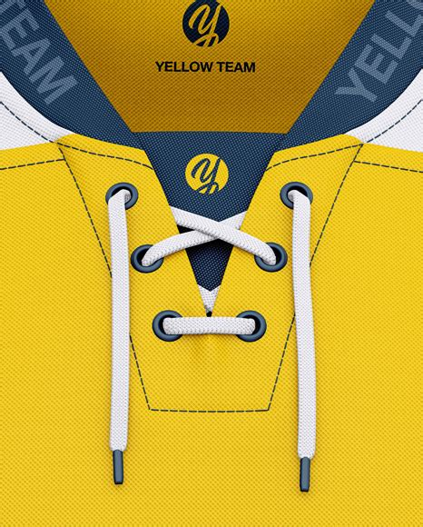 This hockey jersey mockup contains accurate masks and smart layers. Men's Lace Neck Hockey Jersey Mockup - Front View in ...