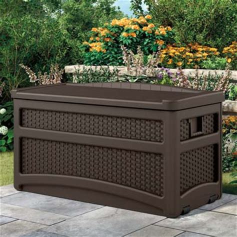 suncast deck box with seat suncast dbw7500 resin wicker deck box with seat java