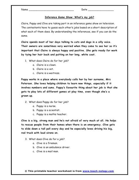 inference worksheets inference game show whats  job