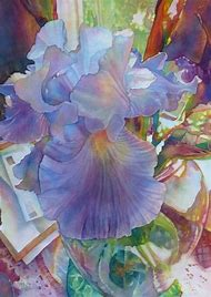 Iris Flower Watercolor Painting