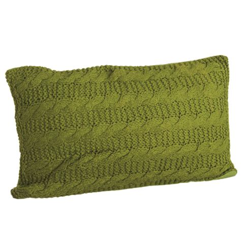 green cable knit pillow cotton  polyfil pillow