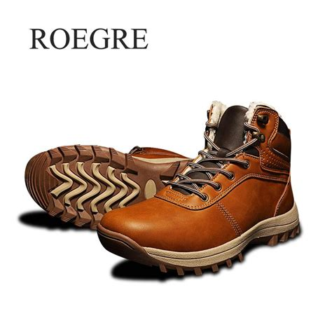 Winter Men Boots Leather Shoes Vintage Style