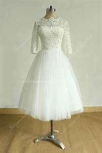Vintage Tea Length Ivory Tulle Lace Wedding Dress With Mid ...