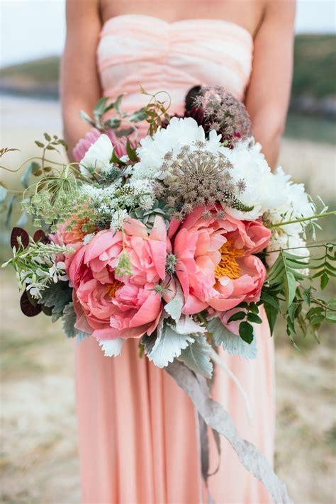 ideas  coral peony bouquet  pinterest
