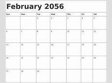 May 2056 Blank Calendar