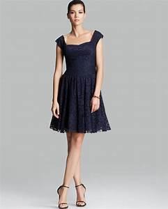 Vera Wang Dress Cap Sleeve Lace in Blue (Deep Navy) | Lyst