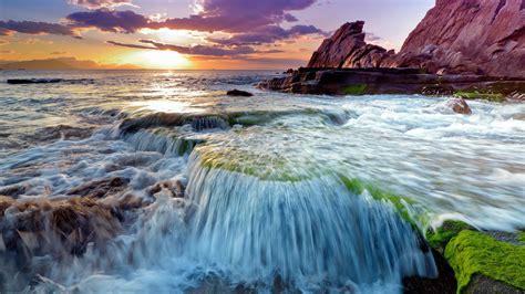 full hd wallpaper rush ocean rock algae sunset desktop
