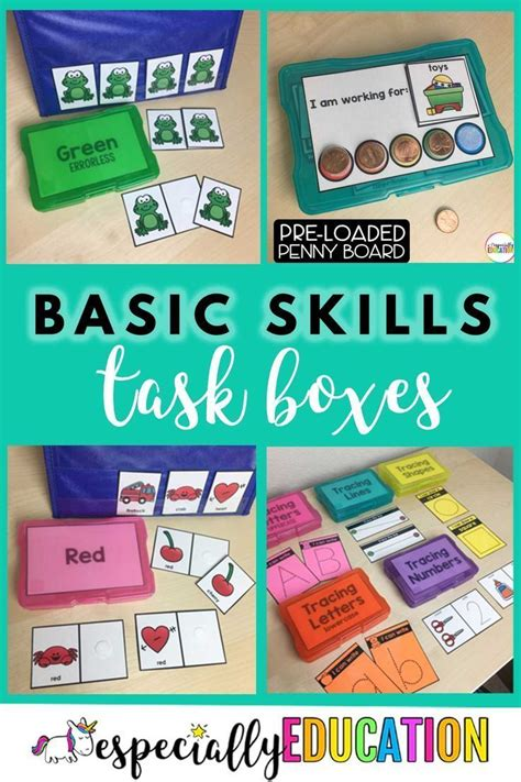 Task boxes contain materials for short, familiar, and ...