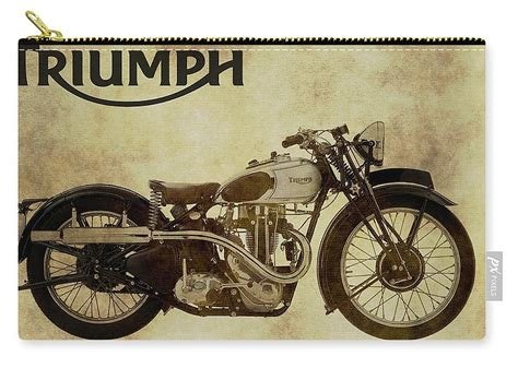 Vintage Triumph Motorcycles Carry-all Pouch For Sale By