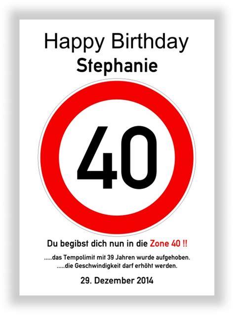 verkehrszeichen bild 40 geburtstag deko geschenk