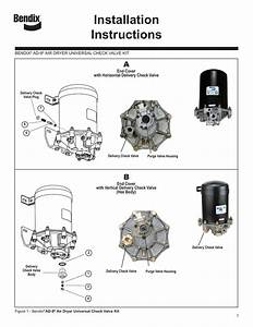 Ad9 Universal Check Valve Kit With Install Info For Bendix Air Dryer