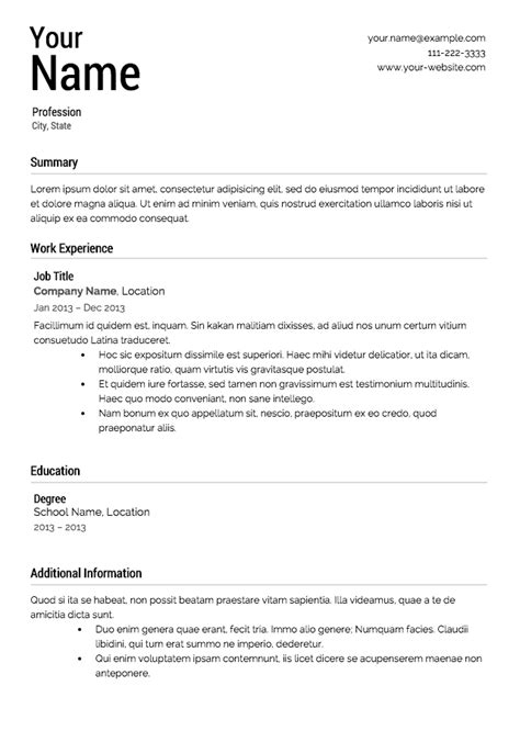 free resume layout sles free resume templates