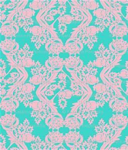 floral damask turquoise pink fabric - katarina - Spoonflower