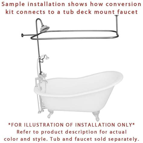 chrome clawfoot tub shower conversion kit with enclosure